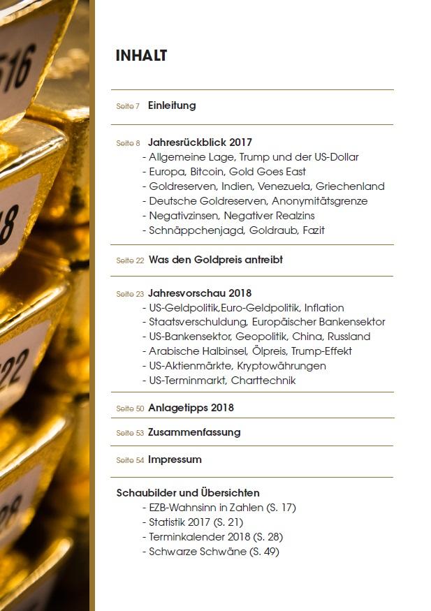 Gold-Jahrbuch 2018 Inhalt